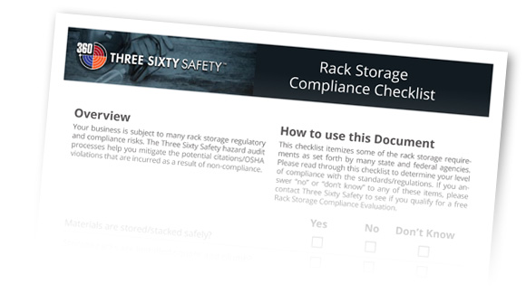 Three Sixty Safety Rack Storage Compliance Checklist